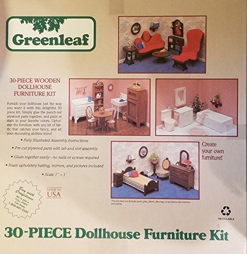 30-Piece Wooden Dollhouse Furniture Kit