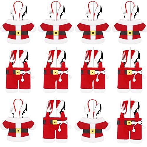 Annhao 12 Pezzi Portaposate Natale, Cucina Posate Coltello Forchetta Cucchiaio Babbo Natale Pupazzo di Neve Alce Porta Coltelli Borse Decorazioni per Borsa da tavola Posate Natale, Red-2