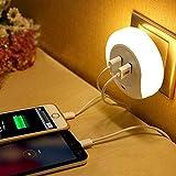 LEDUSB-Nachtlicht, LE-Nachtlicht mit Sensor für Dämmerung bis zum Morgengrauen, zwei USB-Wandpaneel-Ladegeräte können in Innenzimmern verwendet werden
