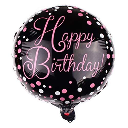 DIWULI, Geburtstags Luftballon Happy Birthday, Folien-Luftballon schwarz, Geburtstagsballon, Edler Folien-Ballon rosa Schrift für Geburtstag, Mädchen Kindergeburtstag, Party, Dekoration, Geschenk-Deko
