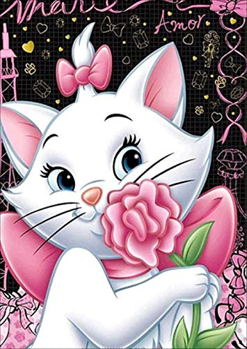 Pink Flower Cat Diamond Painting - PigBoss 5D Full Diamond Painting by Numbers - Cute Cat Crystal Diamond Dot Kits Home Decor Art Gift for Adults (11.8 x 15.7 inches)