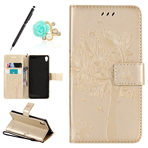 Uposao Kompatibel mit Sony Xperia XA Handyhülle Schutzhülle Handytasche Lederhülle Flip Tasche Hülle Leder Hülle Schmetterling Blume Muster Retro Ledertasche Brieftasche Hülle,Gold
