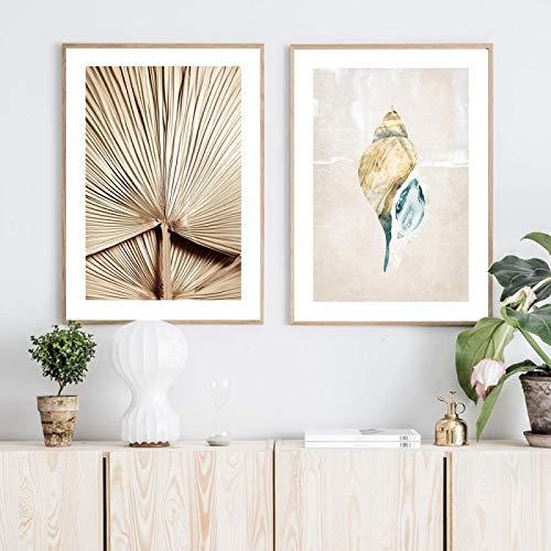 YQLKC Carteles de Concha de Estilo nórdico Simple Arte de Pared Lienzo Pintura Abanico imágenes para Sala de Estar Sala de Estudio decoración Moderna para el hogar 27.5'x39.3 (70x100cm) x2 sin Marco