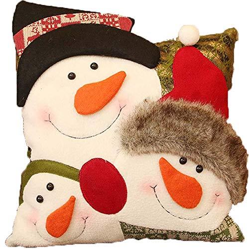Hugyou Funda de almohada de Navidad con diseño de muñeco de nieve creativo, funda de almohada para reposacabezas para decoración de fiestas