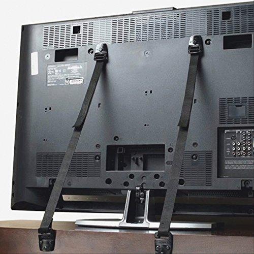 FREESOO TV Correa, 2pcs Anti-volcaduras TV Correa Seguridad para Muebles Producto de Seguridad para Bebés Ajustable Correas de Seguridad para Bebé Niño con Tornillos (Negro)