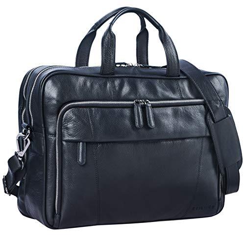 STILORD 'Jaron' Vintage Ledertasche Leder Herren Damen 15,6 Zoll Laptoptasche Umhängetasche groß Aktentasche Arbeit Büro Uni echtes Rindsleder, Farbe:schwarz