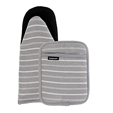 Cuisinart Puppet Oven Mitt & Potholder with Pocket Set w/Neoprene for Easy Gripping, Heat Resistant up to 500 degrees F, Twill Stripe- Grey