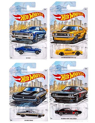 Hot Wheels Detroit Muscle Car Series Set of 4 Vehicles