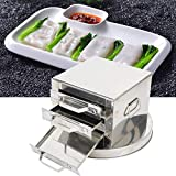 Cantonese Rice Noodle Rolls Machine 3 Layer Steamer Stainless Steel drawer cooker set Drawer Food Steaming Machine Chinese Rice Noodle Roll Food Steamer 39cm for Commercial Home Kitchen Use
