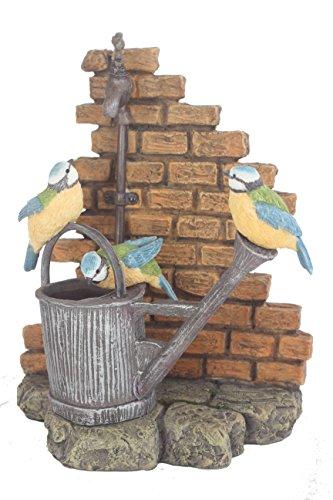 Schattige tuinvogel - blauwe tieten drinken uit een gieter onder een kraan - perfect collectible cadeau