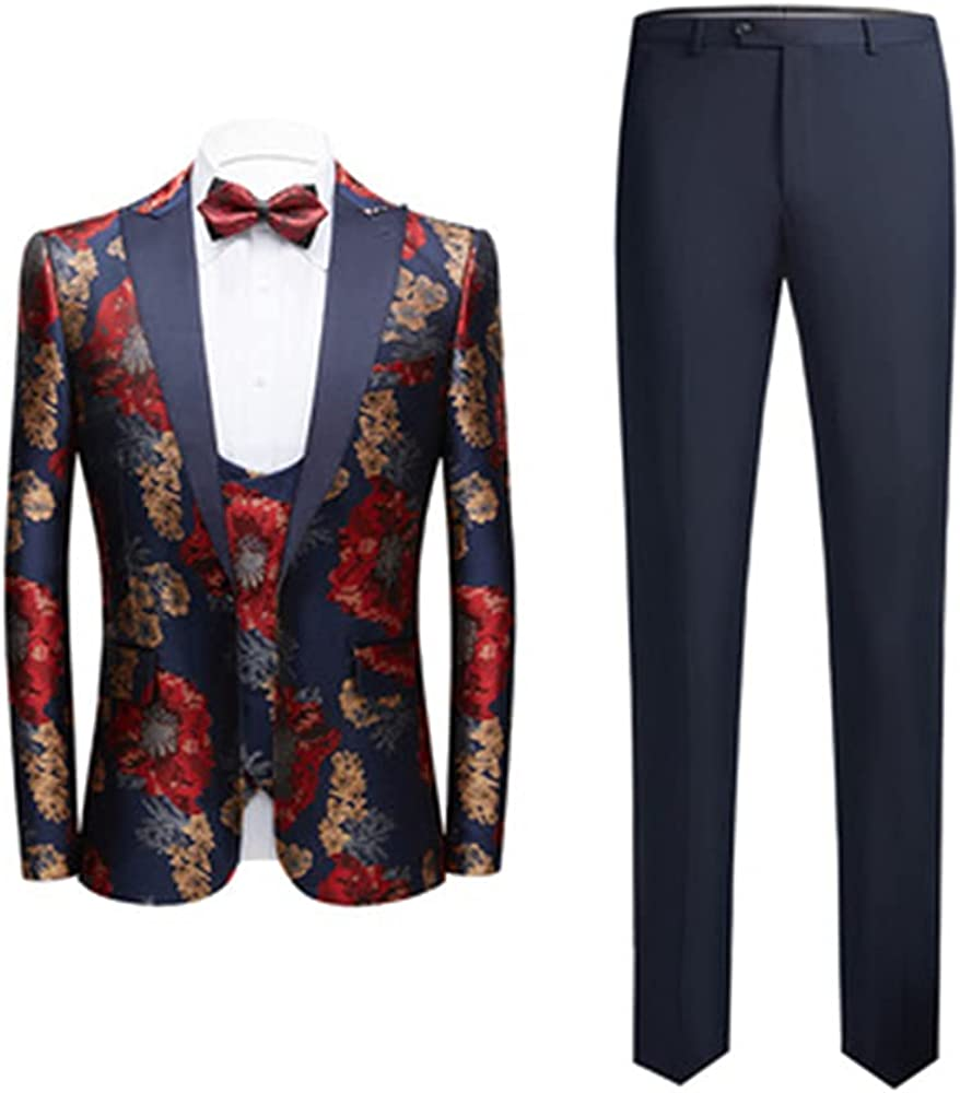 Mens 2 Piece Suits Notched Lapel Floral One Button Slim Fit Luxury Prom Tweed Suits