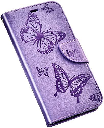 QPOLLY Kompatibel für Samsung Galaxy A7 2018 Hülle Leder Tasche Flip Case Blume Muster Handytasche Magnet Schutzhülle im Brieftasche-Stil mit Kartenfächer Standfunktion,Blau