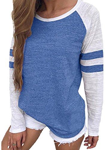 VONDA Langarmshirt Damen Oberteile Baseball Shirt Gestreift Farbblock Bluse Casual Lose Rundhals Oversize Pullover A-Blau S