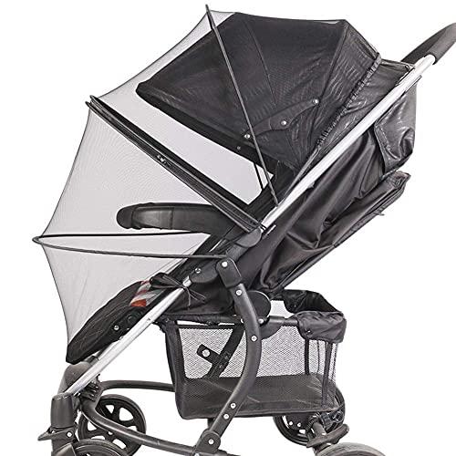 ZYZY Mosquitera universal para cochecitos, portabebés, asientos de coche, plegable de dos vías con cremallera de malla para cochecito de bebé