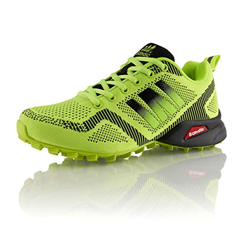 Fusskleidung® Damen Herren Laufschuhe atmungsaktive Runners leichte Trekkingschuhe Grün EU 44