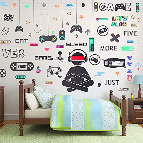 56 Pieces Gamer Wall Sticker Gamer Wall Decals Gaming Controller Joystick Wall Decals Removable...