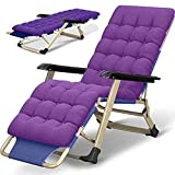NMDD Tumbona Plegable para jardín, tumbonas, sillas Resistentes de Gravedad Cero, tumbonas de jardín al Aire Libre, cómodos sofás, Gris + Almohadilla de algodón Perlado