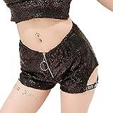 JKHOIUH Shorts sexys con Lentejuelas y Cremallera Delantera for Mujer Pantalones Cortos Mini Club Shorts de Playa for niñas con Estilo (Color : Negro, Size : L)