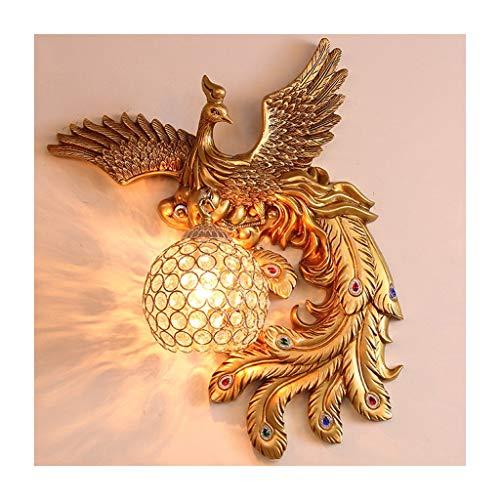 Lámpara de pared Antigua lámpara de pared de pavo real de pavo real lámpara de pared de resina fija estilo europeo creativo de cristal esférico de la lámpara de la pared de la pared de la lámpara de p
