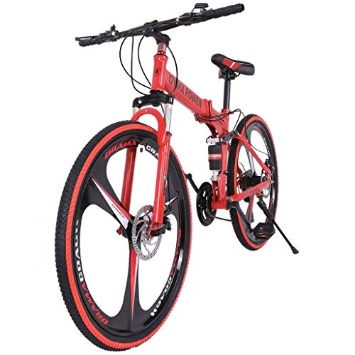 INiubi Fashionable Durable 26in Folding Mountain Bike Shimanos 21 Speed Bicycle Full Suspension MTB Bikes Best Gift(Red)