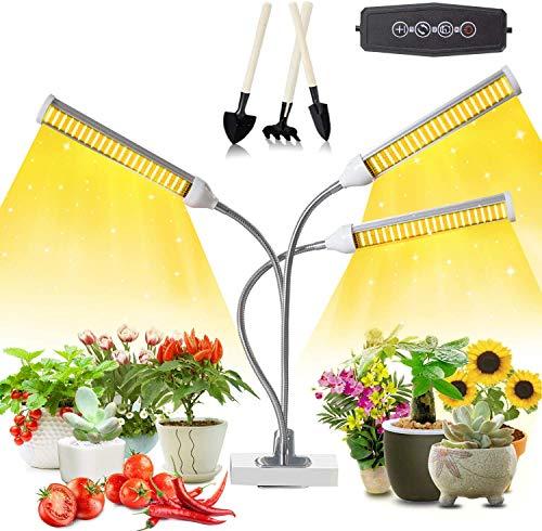 Niello 315 Led Pflanzenlampe Vollspektrum, Led Grow Lampe fur Zimmerpflanzen, 2021 Extended 3 Kopf LED Pflanzenlicht mit Timing Funktion, Timer 3/9/12H, 3 Arten von Modus, 5 Helligkeitsstufen