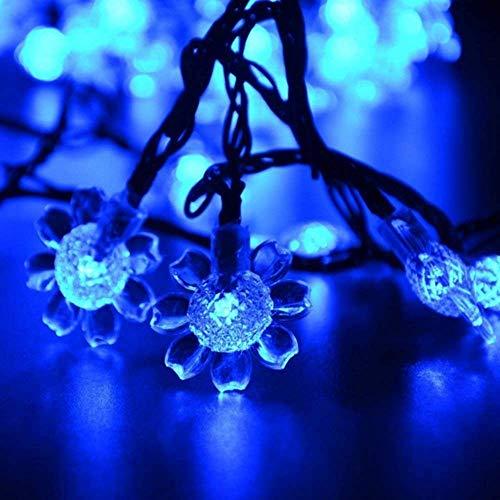 Solare Fiore Luce Stringa,KINGCOO Impermeabile 21ft 50LED Girasole Lampada Solare Luci Corda Catene Luminose Decorativa per Esterno Natale Matrimonio Giardino Paesaggio illuminazione (Blu)