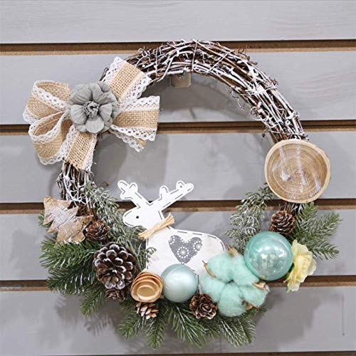 QTMHT Kerst Kran, Vrolijk Kerst Krans met Pine Kegels Pine Naaldbal, Landelijke Kerstman Voordeur Kranen voor Thuis Keuken Wandraam Hall Decor 30cm