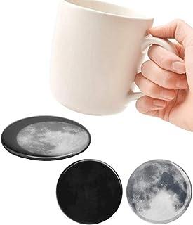 Full Moon Acrylic Coaster Set of 4The Moon Temperature Sensing Pad Surface Transforms Slowly Placemat Hot Mat Hot Pad Cush...
