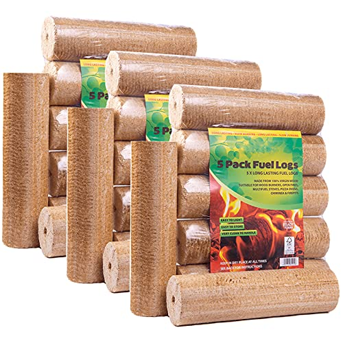 AMOS 100% Natural Heat Briquettes Alder Birch Dry Wood - 15 Logs - 30kg - Less Than 10% Moisture - Easy to Light - Low Ash - Eco Friendly - for Open Fire Stove Burner Fuel Stove Wood Burner Chiminea