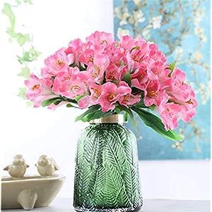 Silk Flower Arrangements Skyseen 3Pcs Artificial Narcissus Lily Fake Alstroemeria Flowers Wedding Home Décor