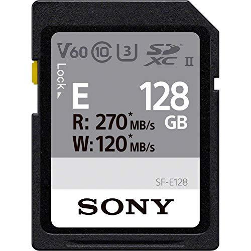 Sony E series SDXC UHS-II Card 128GB, V60, CL10, U3, Max R270MB/S, W120MB/S (SF-E128/T1), SFE128/T1