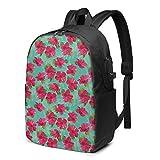 Sac à Dos Homme Femme Ordinateur Portable 17 avec Port De USB pour Voyage Affaires École Fleurs d'hibiscus Rose Jardin