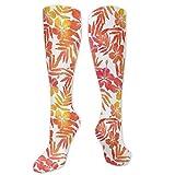 Calcetines de pollo, acuarela, inspirados en la naturaleza de la isla exótica, flores de hibisco, hawaianas, calcetines divertidos para mujer, calcetines de algodón para mujer, calcetines de algodón