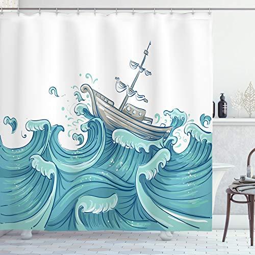 ABAKUHAUS Nautisch Duschvorhang, Schiff & Ozean-Wellen, Digital auf Stoff Bedruckt inkl.12 Haken Farbfest Wasser Bakterie Resistent, 175 x 200 cm, Aqua Taupe