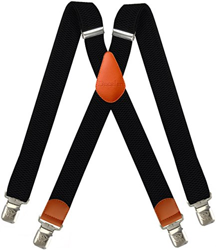Decalen Hosenträger für Herren breit extra starken 4 cm mit 4er Clips X-Form Lange für Männer und Damen Hose (Schwarz 2)