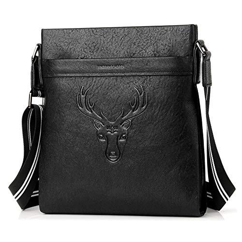 FAGavin Bolso de hombro diagonal con diseño de cabeza de ciervo negro, de piel, 24 x 6 x 27 cm