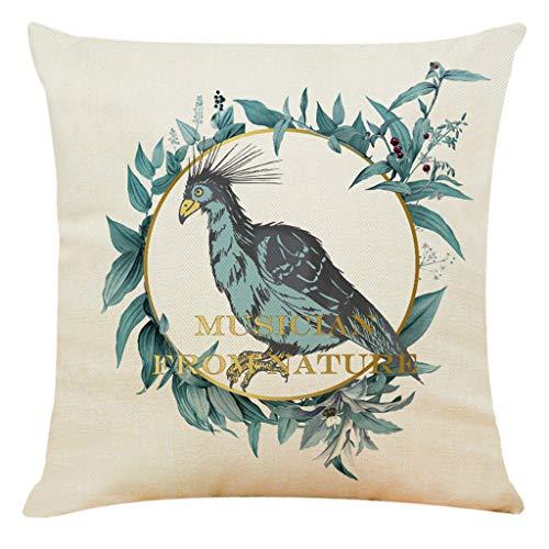 Decoratieve kussensloop, bloem vogel bedrukt sofa decoratie kussen 45 x 45 cm decoratieve ademende kussenslopen decokussen dekt voor huis auto bed bank kantoor decor