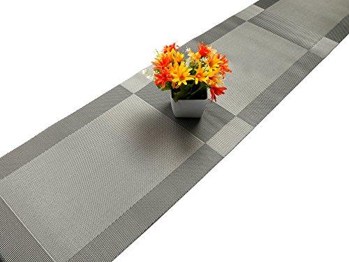 Tischläufer, U 'artlines Woven Vinyl Hitzebeständigen Waschbaren Tischläufer grau rutschfest 30 * 180cm
