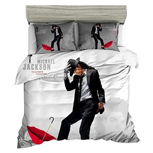 Jameswish 3D Michael Jackson Duvet Cover Set Full Size Black White Modern Dancing Michael Jackson Bedding Set Soft Lightweight Microfiber Comforter Quilt Cover Zipper Ties,3pcs