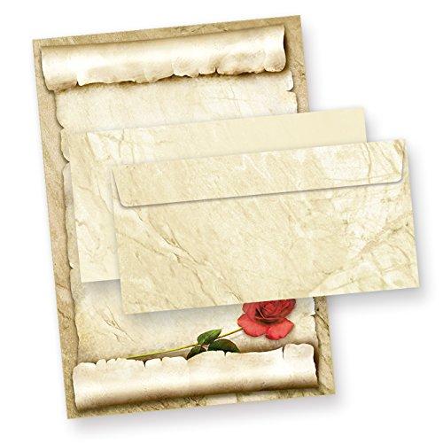 TATMOTIVE ROTE ROSE Briefpapier-Set (25 Sets) A4 Papier beidseitig + Umschläge Geschenkidee Frau