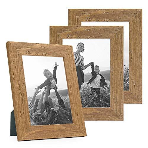 PHOTOLINI 3er Bilderrahmen-Set 10x15 cm Strandhaus Rustikal Eiche-Optik Natur Massivholz mit Glasscheibe inkl. Zubehör/Fotorahmen