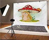 Fotógrafos de vinilo de erizo de 8 x 6 pies, para refugio de la lluvia bajo una seta de gran tamaño, colores vivos de fondo para decoración del hogar, Outdoorsy tema Shoot Props