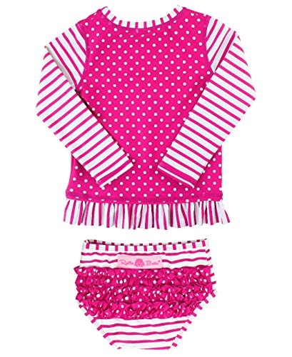 RuffleButts Baby/Toddler Girls Rash Guard 2-Piece Long Sleeve Swimsuit Set - Berry Stripe Polka Dot UPF 50+ Sun Protection - 6-12m