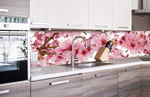 DIMEX LINE Küchenrückwand Folie selbstklebend APFELBLÜTE | Klebefolie - Dekofolie - Spritzschutz für Küche | Premium QUALITÄT - Made in EU | 260 cm x 60 cm