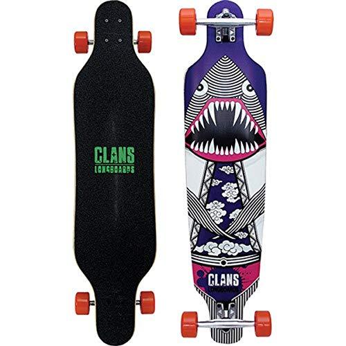Clans Beginner Longboard Freeride Cruiser Komplettboard Flying Dinoshark Purple 40.0 x 9.5 inch