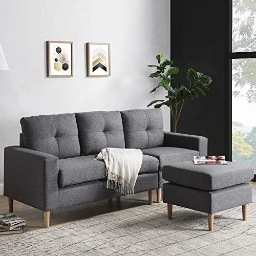 Zebery Sofá esquinero de tela en forma de L, sofá de 3 plazas con sofá otomano, lado izquierdo y derecho