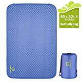 OT QOMOTOP Self Inflating Mattress, 80 x 52x 4in, Double Sleeping Pad, Thick Camping Pad, PU Foam, 24h Without Leaks, Level 3 Waterproof 13.6lbs, Suitable for 2 Person, Travel Bag QTSID2
