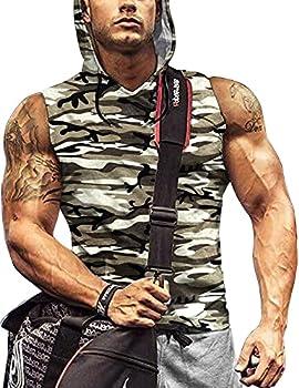Mens Sweatshirt Cut Off Hoodies Training Sleeveless Hoodie Men S Brown Camouflage