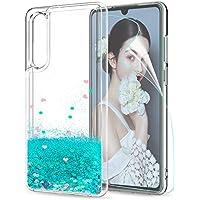 LeYi Funda Huawei P30 Silicona Purpurina Carcasa con HD Protectores de Pantalla,Transparente Cristal Bumper Telefono Fundas Case Cover para Movil Huawei P30 ZX Verde