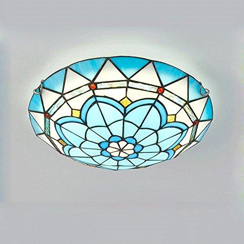 LED de techo lámpara de latón mate cristal Tiffany Estilo Rústico artesanía decorativa iluminación para salón comedor dormitorio habitaciones vestíbulos Balcón [Clase energética A + +]